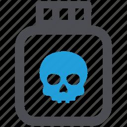 bottle, deadly, poison, potion, skull, toxic icon