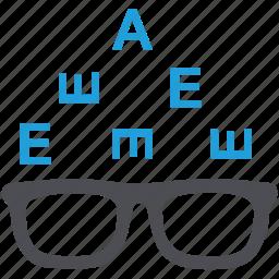 eye examination, eye test, eye test chart, ophthalmologist, optometry icon