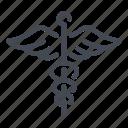 caduceus, emergency, health, healthcare, hospital, medical, snake icon