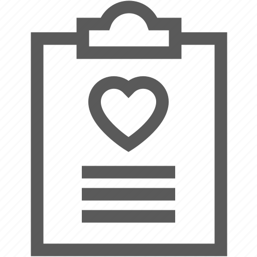 chart, document, heart, papers, patient icon
