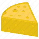 cheddar, cheese, dairy product, food item, slice icon