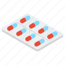 capsules, drugs, medical pills, medicine strip, pharmacy, pills strip icon