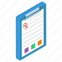 medical checklist, medical receipt, medication, medicine report, prescription icon