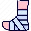 bandaged, bukeicon, foot, health, healthcare, medical icon