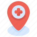 healthcare, hospital, location, medical, pin icon