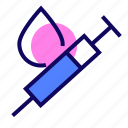 drop, injection, syringe, vaccination icon
