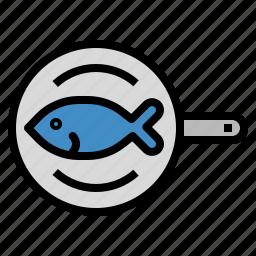 camping, cooking, fish, pan, steak icon