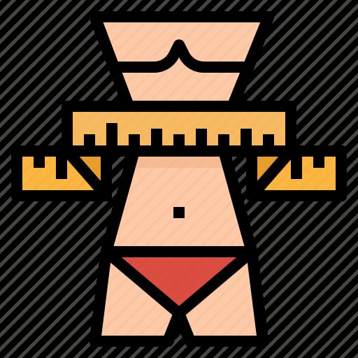 fitness, measuring, tape, thin, waist, woman icon