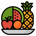 apple, fruit, orange, pineapple, watermelon icon