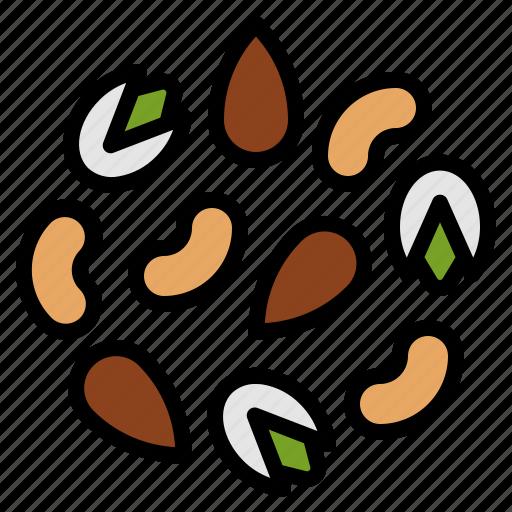 benefits, calcium, health, nuts, vitamin icon