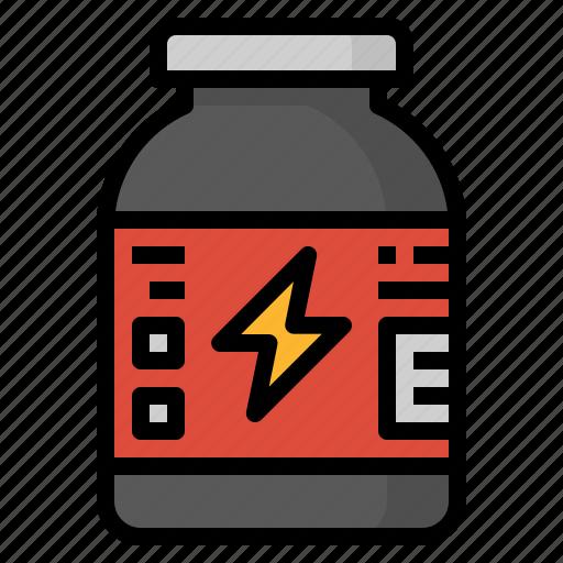 bodybuilding, muscle, powder, protein icon