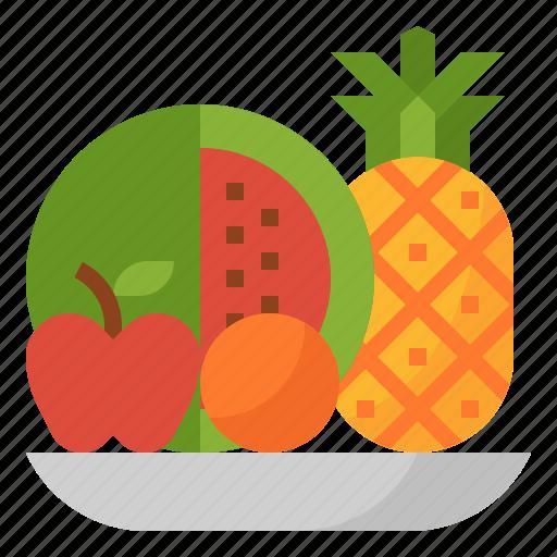 apple, fruit, orange, pineapple, watermelon icon