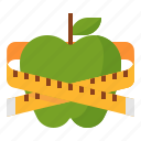 apple, diet, healthy, measuring, tape icon