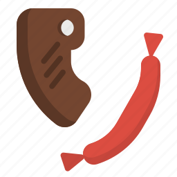 barbecue, meat, proteins, sausage, steak icon