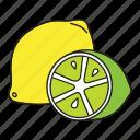 food, friut, half, healthy, lemon, lime, yellow icon