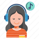 listening, healthy life, cure, music, headphones, relaxation, therapy icon