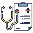 checkup, diagnosis, healthcare, medical, report, stethoscope icon