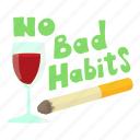 bad, cartoon, cigarettes, habits, no, object, wine