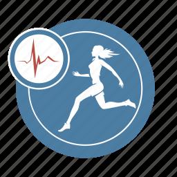 cardio, health, healthy, life, run, woman icon