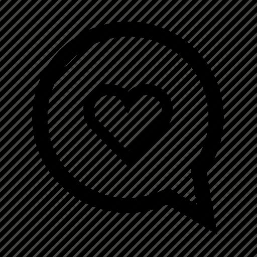 bubble, heart, love, speech icon