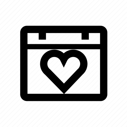 calendar, heart, lifestyle, love, romance, valentine icon