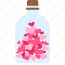 bottle, heart, hearts, love, valentine, valentine's, valentine's day icon