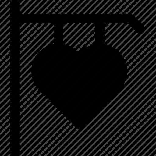heart, love, retail, shop, sign, street, valentine icon
