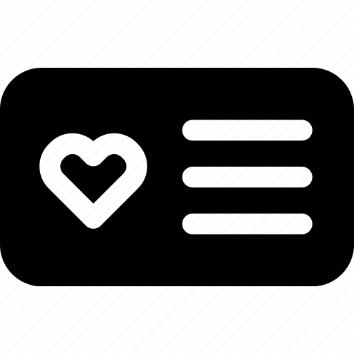 card, favorite, heart, id, love, passion, text icon