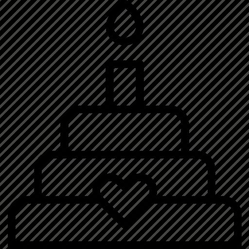 cake, dessert, heart, love, passion, wedding icon