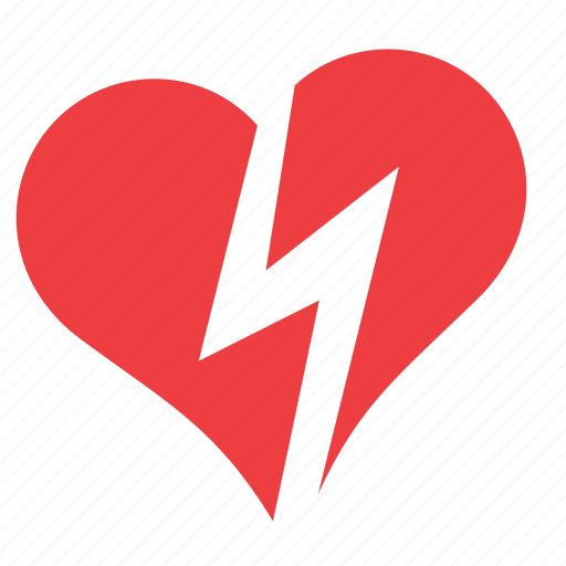 broken, heart, lightning, love, romance icon