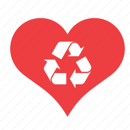 heart, love, recycle, recycling, romance, sign icon