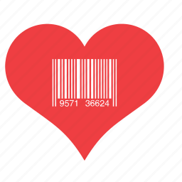 barcode, heart, love, romance icon