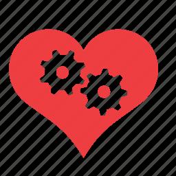 cog, gear, heart, love, romance, wheel icon