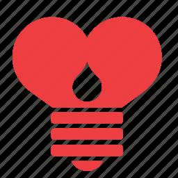 bulb, heart, light, lightbulb, love, romance, sas icon