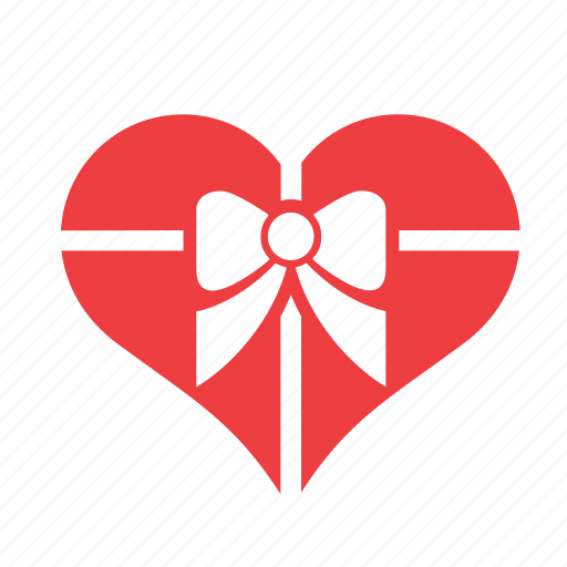 bow, gift, heart, love, ribbon, romance icon