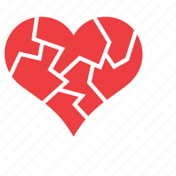 brittle, broken, heart, love, romance icon