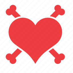 bones, heart, love, romance, skull icon