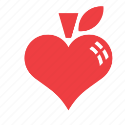 apple, fruit, heart, love, romance icon