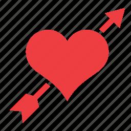 arrow, cupido, heart, love, romance icon