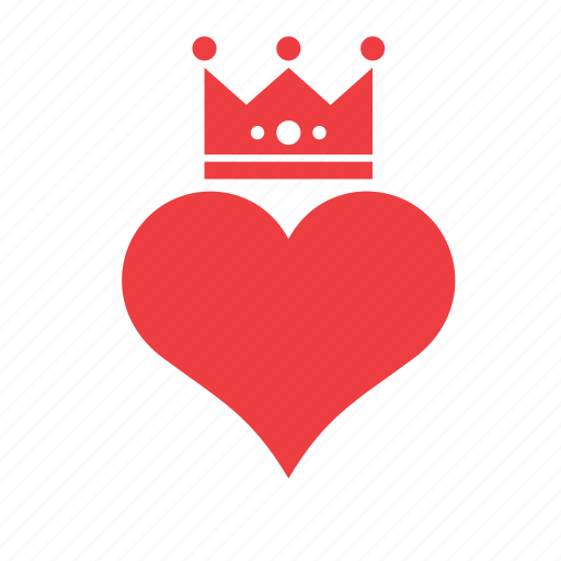 crown, heart, love, romance icon
