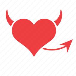 demon, devil, heart, horns, love, monster, tail icon