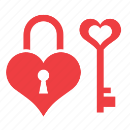 heart, key, love, padlock, romance icon