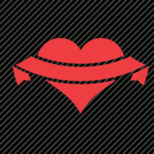 heart, love, ribbon, romance, sash, wide icon