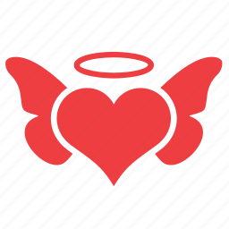 angel, heart, love, romance, wing icon