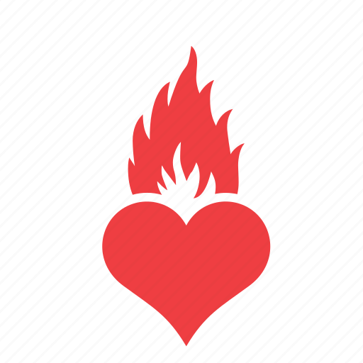 fire, flame, heart, love, romance icon
