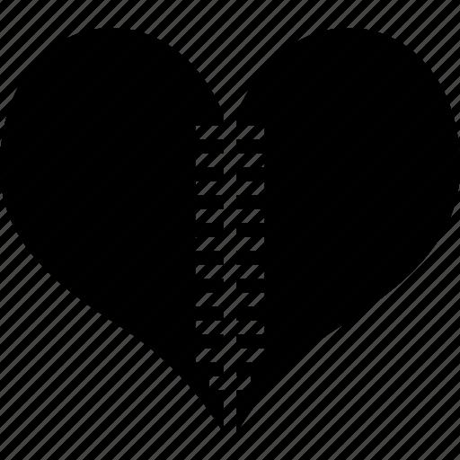 broken heart, heart, love, zipper icon