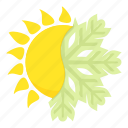 cartoon, climate, cold, hot, snowflake, summer, weather icon