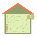 architecture, cartoon, energy, home, house, ventilated, ventilation icon