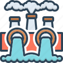 chimney, danger, environmental, factory, pollution, power, thermal icon