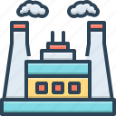 chimney, danger, factory, industry, pollution, power, thermal icon